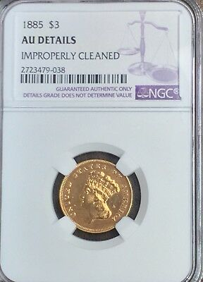 1885 US $3 Gold Coin NGC AU Details Cleaned R-1