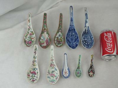 Ten 19Th / 20Th Chinese Porcelain Blue White Canton Famille Rose Spoons