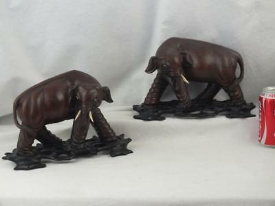 Good Pair 19Th C Chinese Carved Wooden Elephants On Pierced Stands