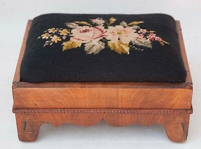 Antique American Empire 1840 Foot Stool Upholstered Needlepoint Mahogany