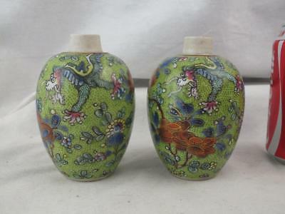 Pair Kangxi 1662 - 1722 Chinese Blue & White Clobbered Dragon Jars