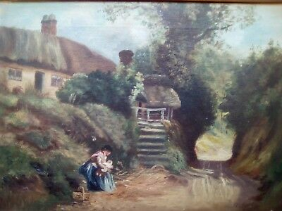 Unfinished work ? lane scene at Hambledon, tate gallery,  ANTIQUE OIL PAINTING.