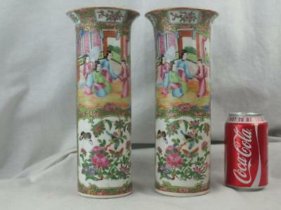 Good Pair 19Th C Chinese Porcelain Canton Famille Rose Sleeve Vases