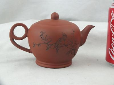 Chinese Yixing Incised Bird Calligraphy Teapot - Marks Base & Inner Lid