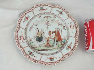 Rare 18Th C Chinese Porcelain Tea Party Cherubs French Flags Plate
