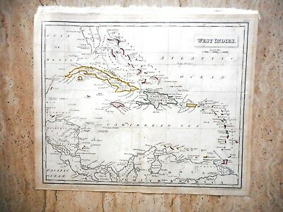 ANTIQUE HAND COLOURED MAP OF THE WEST INDIES by RUSSELL AND SONS. c 1820