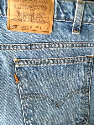Vintage Levis 560 Loose Fit Tapered Leg Jeans 38 x 32 MADE IN USA Orange Tab