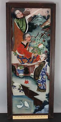 Antique Authentic Chinese Reversed Glass Painting, 3 Gentlemen Garden Landscape