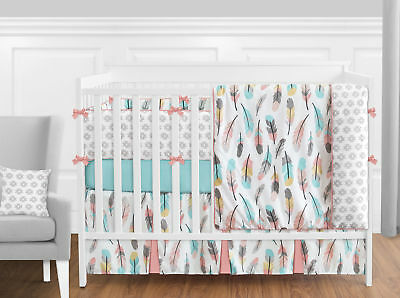 Sweet Jojo Modern Pink Gray Yellow Aqua Feather Girls 9pc Crib Baby Bedding Set