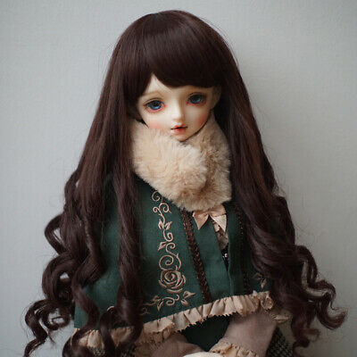BJD Doll Full Wig 9-10 inch 22-24cm for DOD LUTS SD DZ Coffee Curled Hair