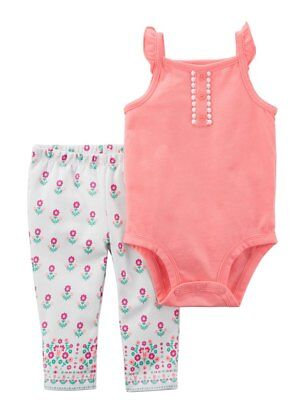 3ff5057d6190a Carters Infant Girls Baby Outfit Peach Bodysuit & Pink Floral Leggings Set