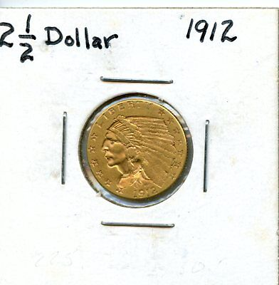 Amazing 1912 United States Indian Head Quarter Eagle (2 ½) Gold Coin EJ273