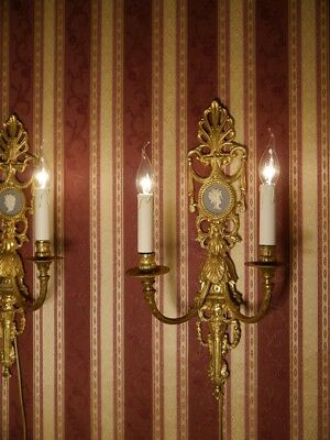fine 2 light empire gold bronze pair french wall lamps sconces old brass antique