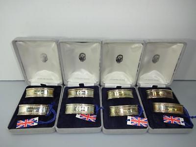 Ari D. Norman Sterling Silver Greek Key British Hallmark 2 Napkin Rings Nib New