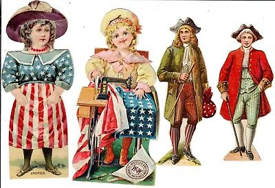 Two early, colorful Paper Advertising Dolls. Two Revolutionary Soldiers Adv.