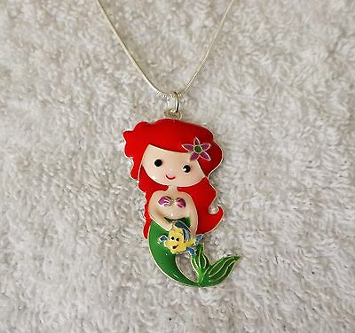 ARIEL The LITTLE MERMAID & FLOUNDER Unwanted Large Charm Gift NECKLACE