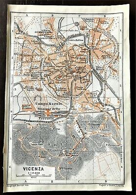 1909 ANTIQUE COLOR CITY MAP  of  VICENZA, ITALY ~ Original Baedeker