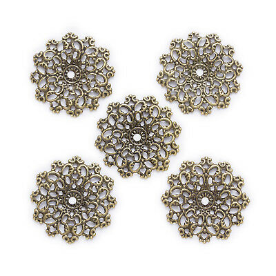 Bronze Tone Hollow Filigree Oval Wraps Connnector Embellishments 61x48mm
