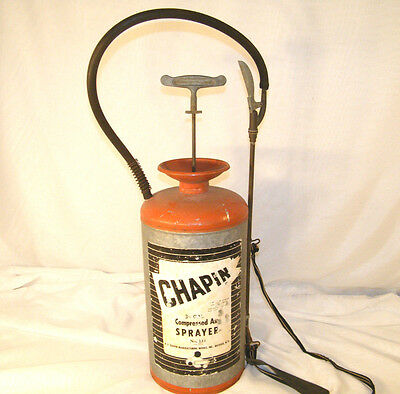 VINTAGE R.E. CHAPIN COMPRESSED AIR SPRAYER GARDEN PUMP GALVANIZED STEEL No 141