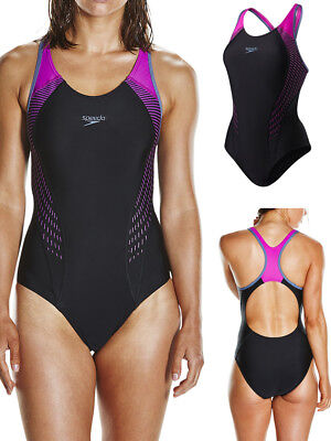 Speedo Fit Laneback Swimsuit Swimming Costume Non Wired - Black / Pink