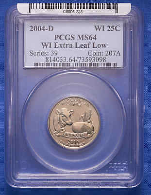 2004-D Wisconsin 25C EXTRA Leaf Low PCGS MS 64
