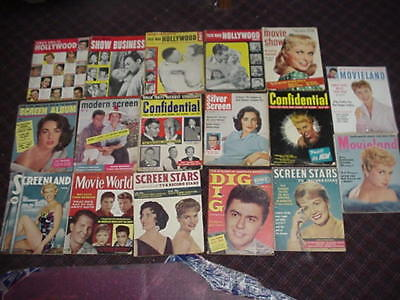 lot of 17 vintage movie magazines dated 1950 - 1959.  All are complete.