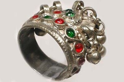 18thC Crimean Tatar Silver 17 Ruby Red Emerald Green Sapphire Blue Gem Ring Sz11