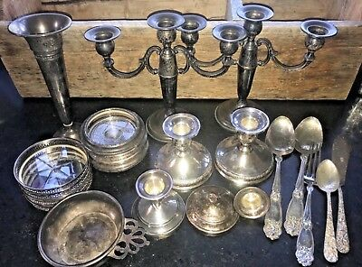 Lot STERLING SILVER  Weighted Candlesticks, Flatware, Vase, coasters, Scrap