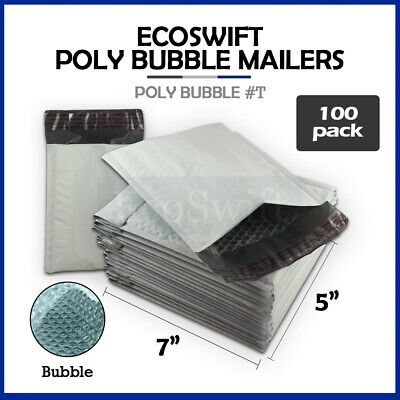 "100 #T 5x7 Self Seal Poly Bubble Mailers Padded Shipping Envelopes Bags 5"" x 7"""