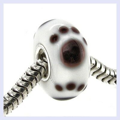Sterling Silver Puppy Paw Print Murano Glass Bead for European Charm Bracelet