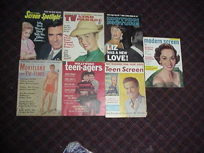 lot of 7 vintage movie magazines dated 1955 - 1960.  All are complete.