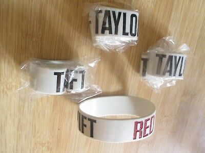 Lot of 2 Taylor Swift Bracelets Band Brand NEW SEALED PLASTIC Red Tour White