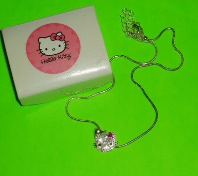 Sanrio Hello Kitty Pendant Necklace With Crystals & Red Bow - New!