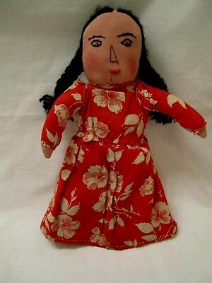 OLD PRIMITIVE FOLK ART SQUAW NATIVE AMERICAN CLOTH DOLL with LEATHER MOCASSINS