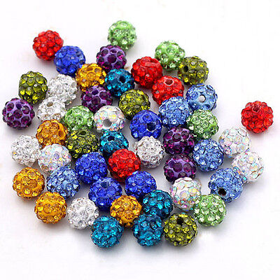 40PCS Czech Crystal Rhinestones Pave Clay Round Disco Ball Spacer Beads 6-12MM