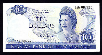 New Zealand $10 Wilks 1968 - 1975  Crisp EF Note   P. 166b  QEII RARE