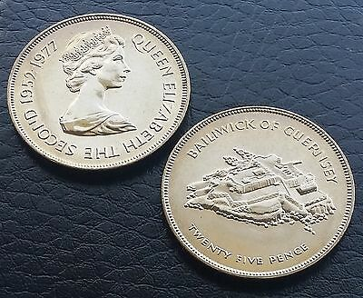 1977 Guernsey 25 Pence Crown  Queen's Silver Jubilee Brilliant UNC BU  KM# 31