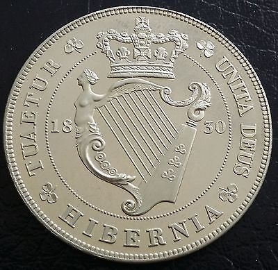 1830 Ireland Retro Pattern Proof Crown Nickel Silver George IV Coin Hibernia