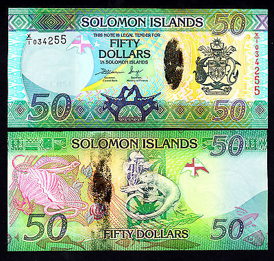 Solomon Islands  50 DOLLARS $50  ND 2013  X/1 P.35  UNC Replacement  Note