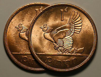 1968 Ireland Republic Penny KM# 11 Beautiful Luster UNC/BU 2 Coins