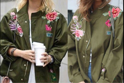 0df5cc212 ZARA WOMENS 3D Rose Flower Peacock Embroidered Patch Parka Jacket Green  Medium