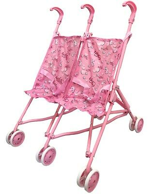 Baby Doll Stroller / Pram / Pushchair (Double / Twin, Pink) Play Toy for Girls