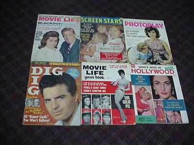 lot of 6 vintage movie magazines dated 1962.  All are complete.