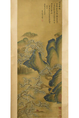 Fine Chinese Scroll Painting On Silk Signed Wang Hui (1632-1717)