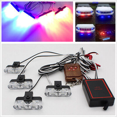 4 IN 1 2LED Wireless Remote 12V Warning Light Car Truck Flashing Firemen Lights