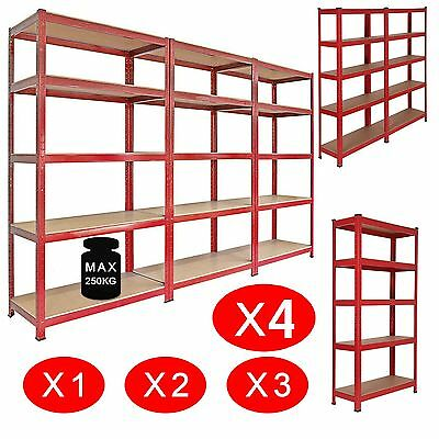 Heavy Duty Shelving Racking Garage 5 Tier Storage Units Metal Shelves Bays