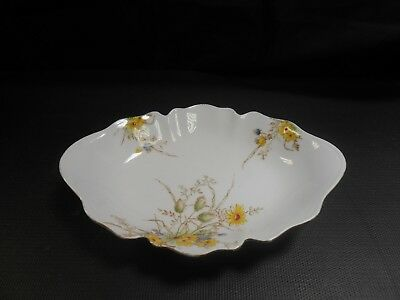 Crown Staffordshire Vintage China Oval Bowl Floral Fluted Edge        mo
