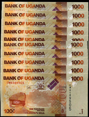 Uganda 1000 1,000 Shillings 2017 P 49 New Sign Date Unc Lot 10 Pcs