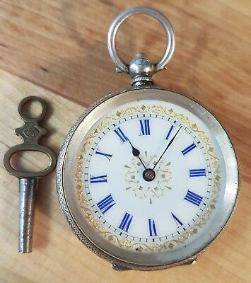 VINTAGE SWISS LADIES SILVER FOB POCKET WATCH working movement & key