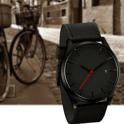 Fashion Men Sport Stainless Steel Case Leather Band Quartz Analog Wrist Watch